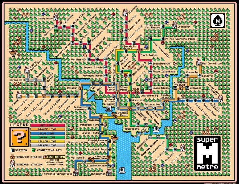 Washington DC's Metro Line Makes A Perfect Super Mario World Map