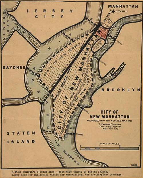 1916 plan for NYC proposed fusing Brooklyn and Manhattan, building new islands