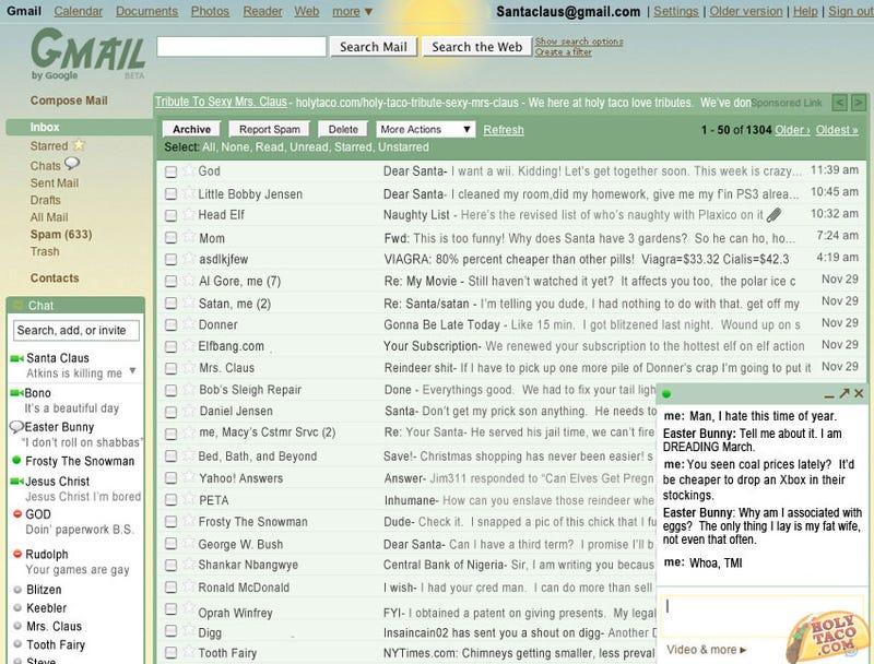 Santa Claus' Gmail Account Exposed