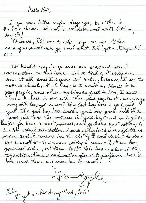 Read Fiona Apple's Letter to a Young Gay Teen