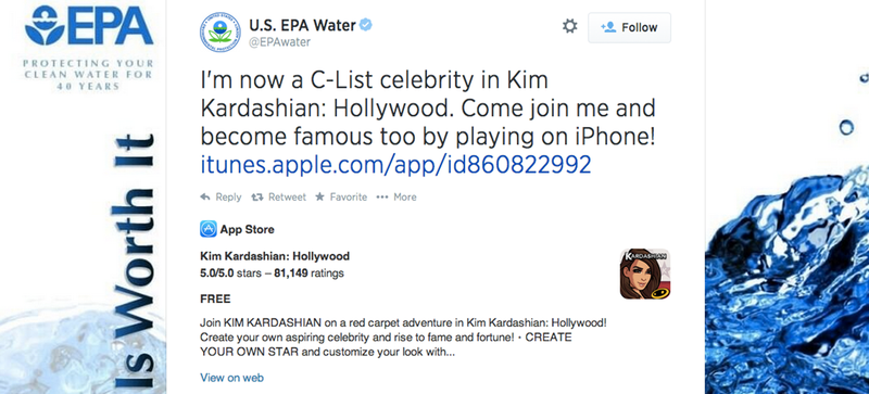 EPA: Protecting Our Water, Doing Okay-ish on Kim Kardashian Hollywood