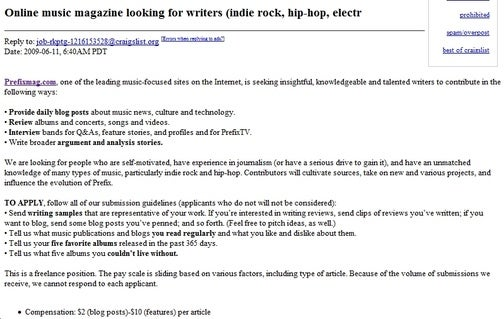 Media Jobs '09: Craigslist Serfdom