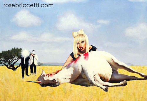 Here Is A Painting Of Lady Gaga Devouring A Unicorn Carcass