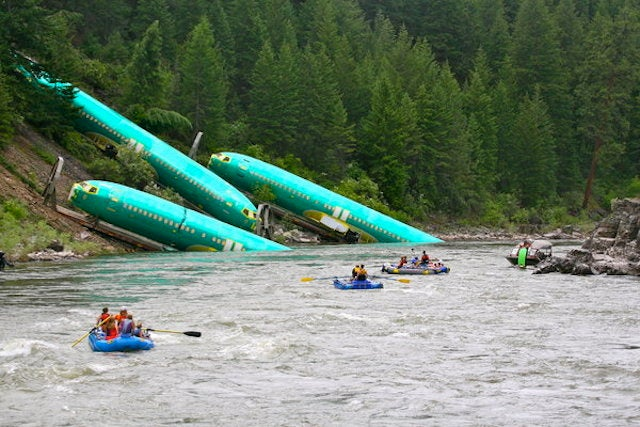 Boeing Fuselages Make A Splash In Montana River