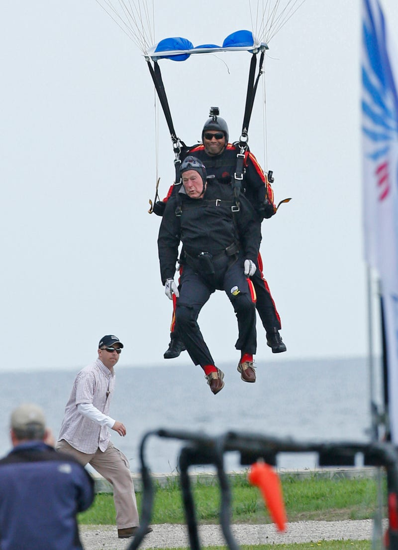 Watch George HW Bush Jump Out Of A Helicopter For His 90th Bday!