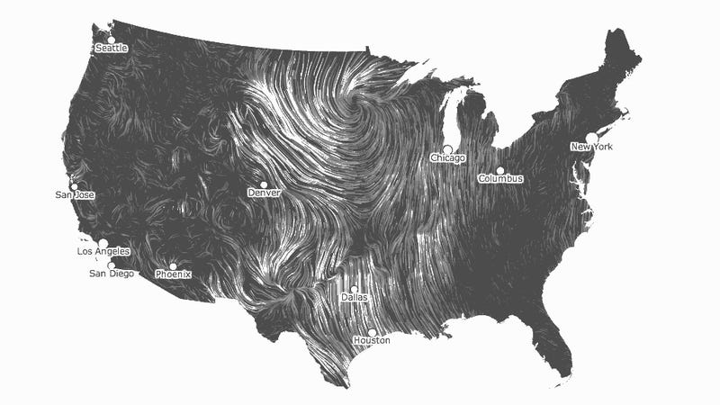 A humbling map of real-time wind patterns in Tornado Alley