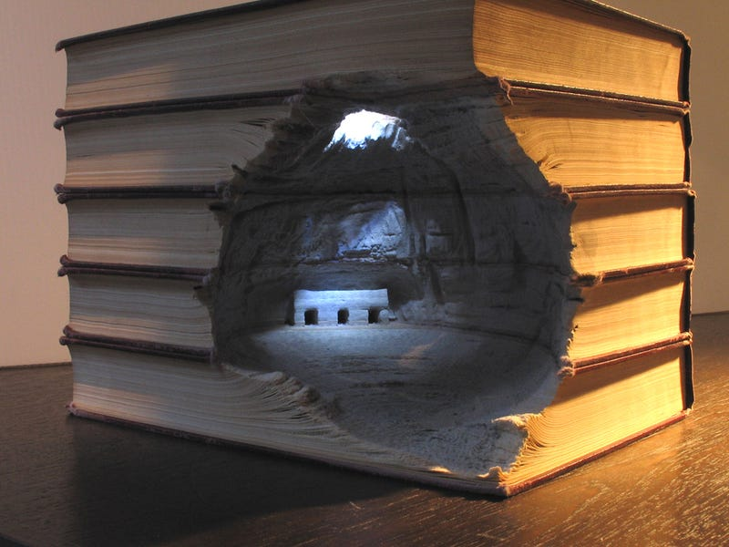 Breathtaking landscapes and monuments carved from books
