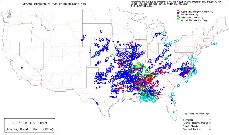 Here's a Map of All 1,232 Severe Weather Warnings Issued in Past Week