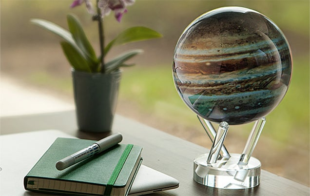 The Earth's Magnetic Field Keeps This Desktop Jupiter Globe Spinning