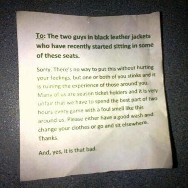 Anonymous Note Urges Smelly Soccer Fans To Bathe