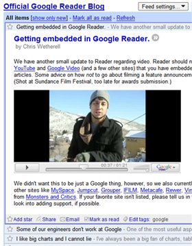 Google Reader embeds flash video