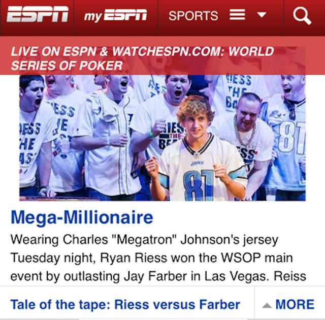 "ESPN: WSOP Champion Wins While Wearing ""Charles"" Johnson Lions Jersey"
