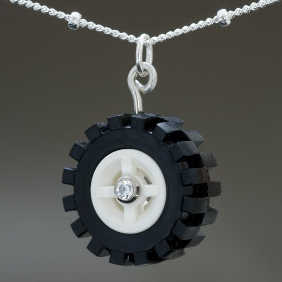 Fine jewelry fashioned from Lego bricks