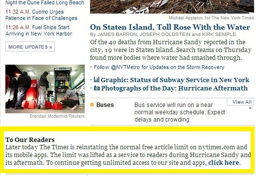 The New York Times Paywall Will Be Reinstated Later Today
