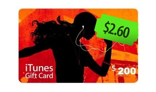 Get $200 iTunes Store Vouchers for $2.60