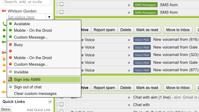 AIM Fully Integrating with Gmail Chat for Single-Login Chat