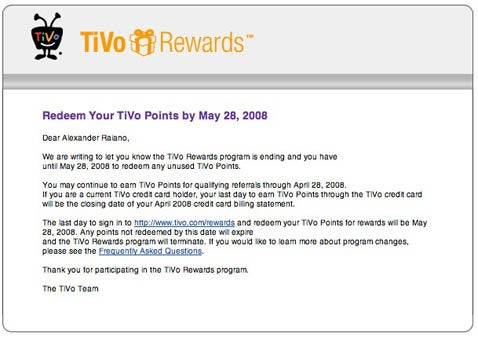TiVo Rewards Program Ending May 28th