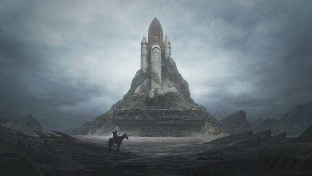 I love this post-apocalyptical space shuttle by Yuri Shwedoff