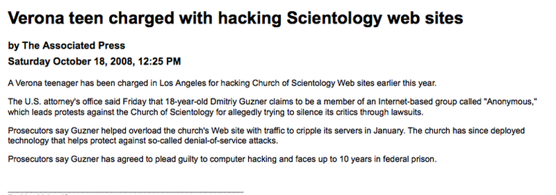 'Anonymous' Kid Faces Ten Years for Scientology Hack