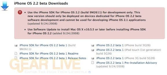 iPhone 2.2 Beta 1 Seeded to Developers (2.2 Details Soon!)