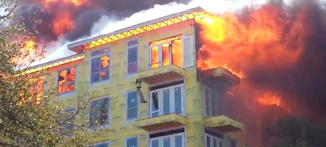 Video: Dramatic rescue of man trapped in raging 5 alarm fire