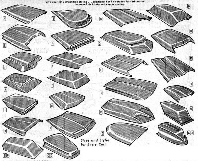 Every Fiberglass Hood Scoop In The 1975 JC Whitney Catalog!