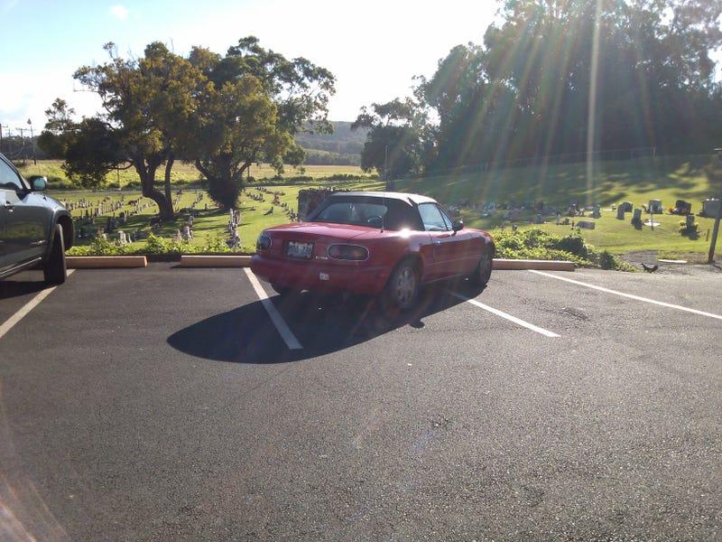 Douchebag Miata Owner's Shitty Parking