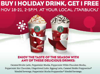 Buy-One-Get-One-Free Holiday Drinks in the Afternoon at Starbucks, Starting Tomorrow