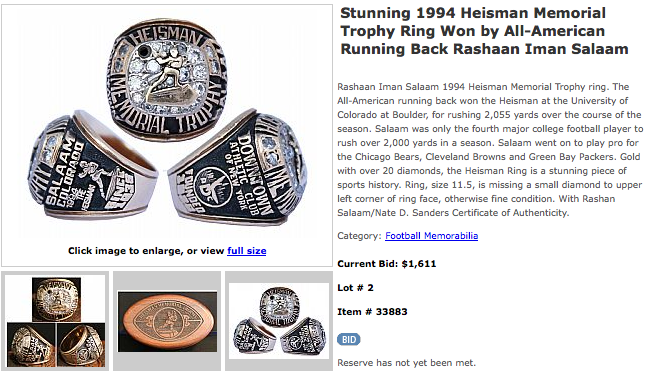 The Highest Bid For Rashaan Salaam's Heisman Trophy Ring Is Currently $1,611