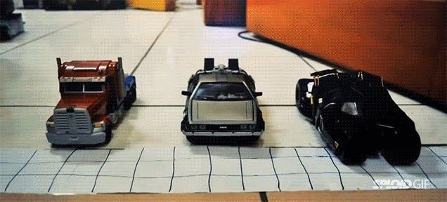 Who would win a race between Optimus Prime, a Batmobile and a DeLorean?