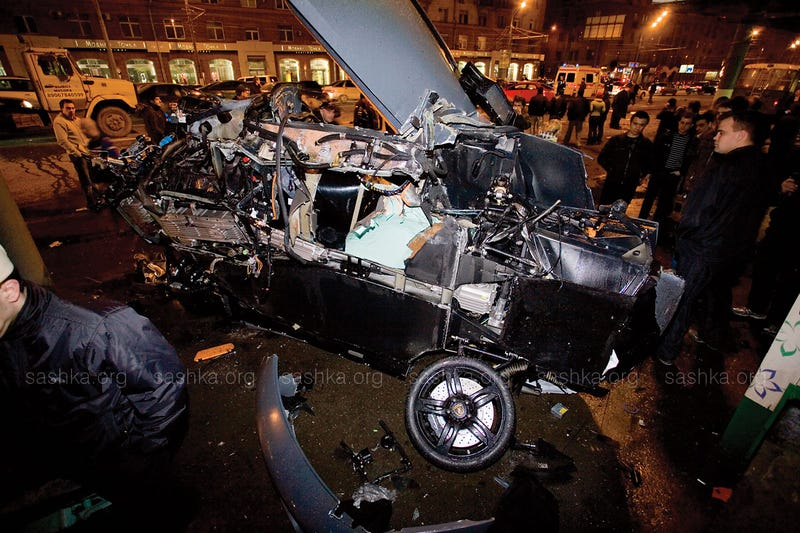 Lamborghini Obliterated In Fiery Multi-Vehicle Moscow Crash