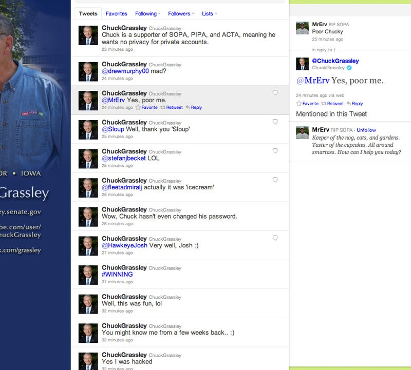 Hackers Briefly Make Sen. Chuck Grassley's Twitter Feed Readable