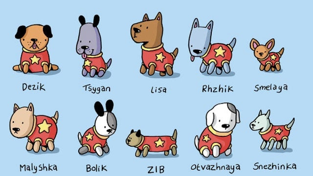 An adorable tribute to the Soviet Union's canine cosmonauts