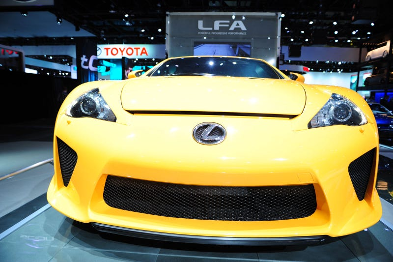 """P***Y Magnet Yellow"" Lexus LF-A Surveys The Beige"