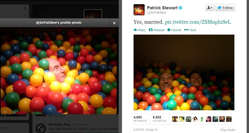 Patrick Stewart Has The Best Just-Married Photo of All Space and Time