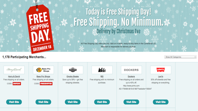 Get Free Shipping from 1,000+ Retailers Today, December 18th
