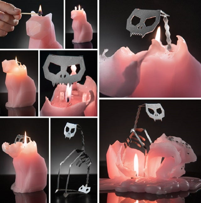 The Cat-Shaped Candle That Burns Down to a Skeleton
