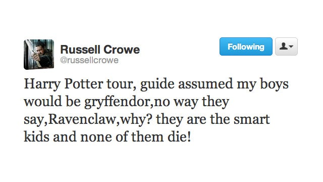 Russell Crowe, Sorting Hat, Denies His Sons the House of Gryffindor
