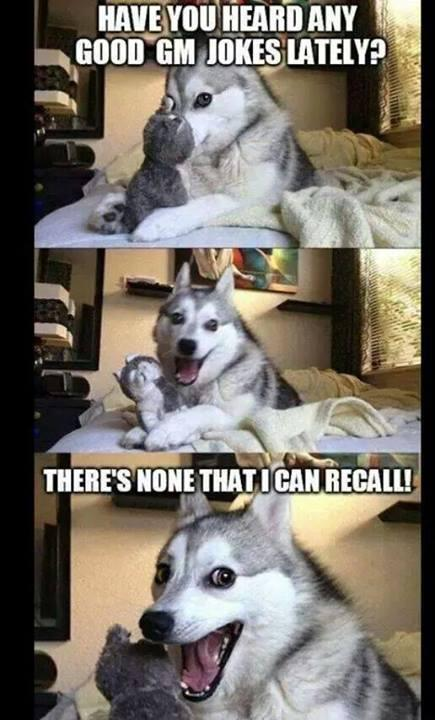 Dog making fun of GM