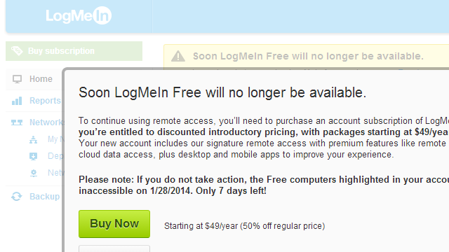 Remote Desktop Tool LogMeIn Is No Longer Free