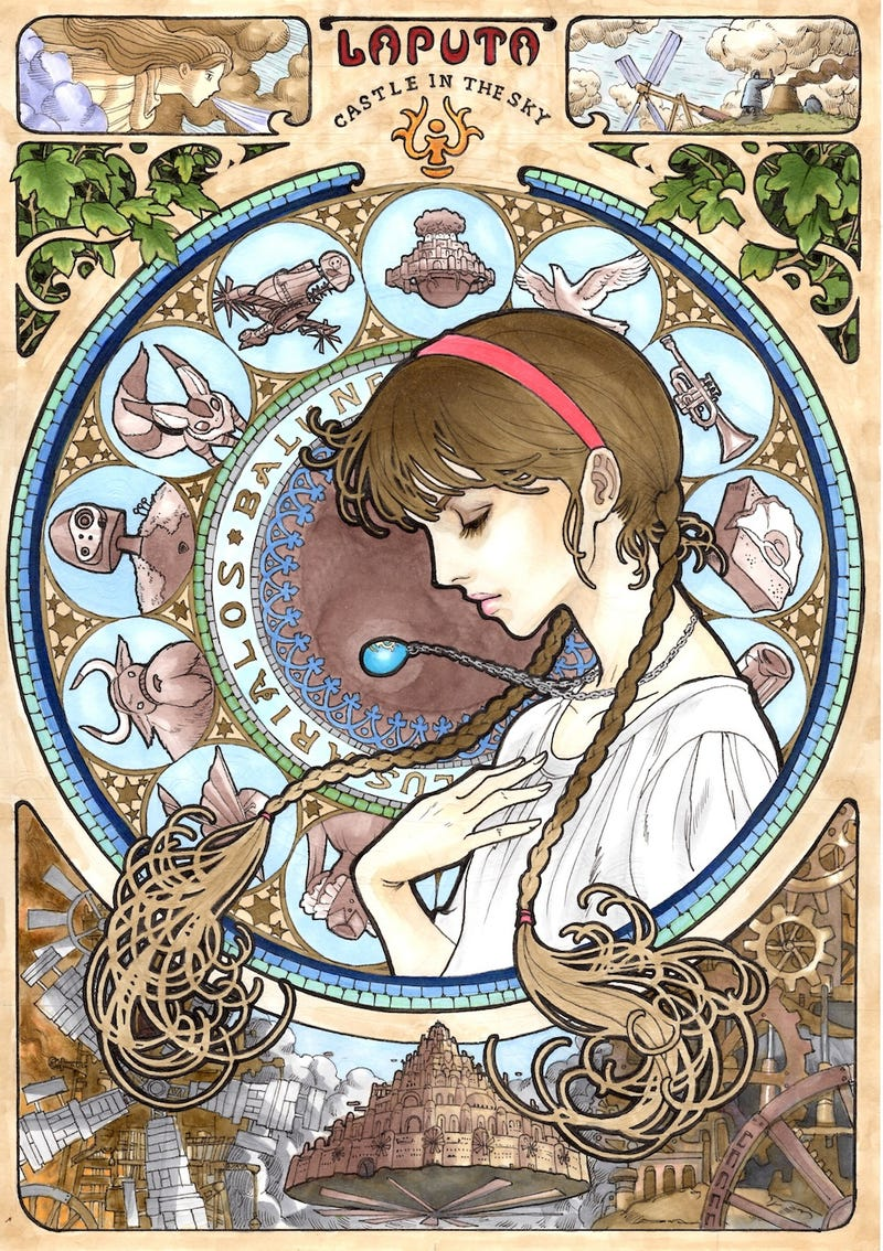 Gorgeous art nouveau-inspired portraits of Miyazaki's characters