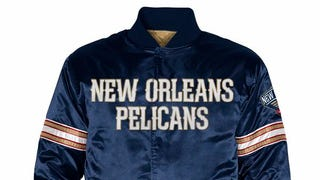 This is the Retrofitted New Orleans Pelicans Starter Jacket from the Upcoming Relaunch