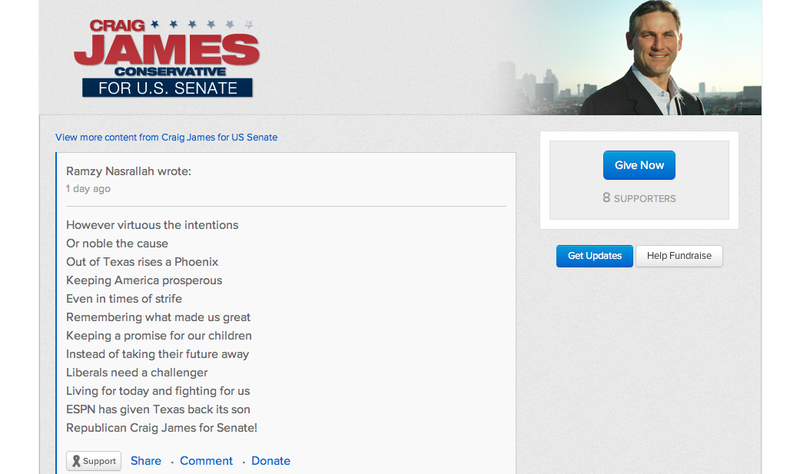 Campaign Donation To Craig James Contains Hidden Message About Dead Hookers