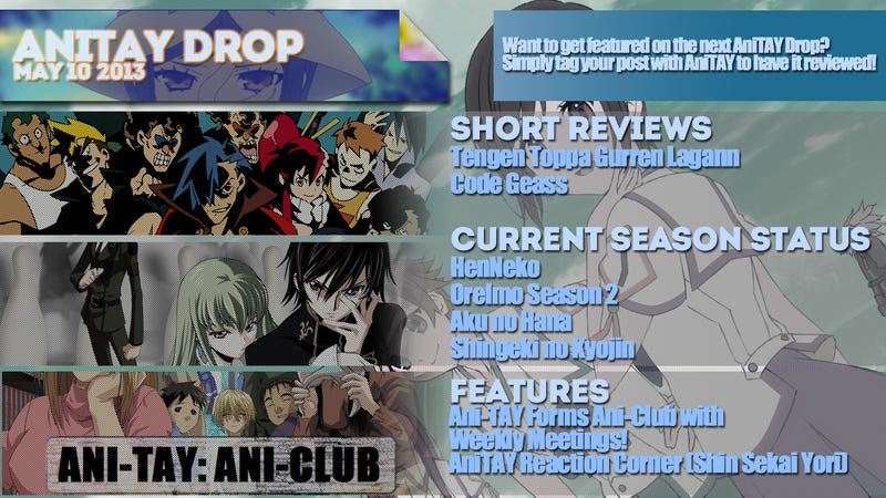 AniTAY Drop (May 10, '13) Weekly Round-Up Of All Things Anime on TAY