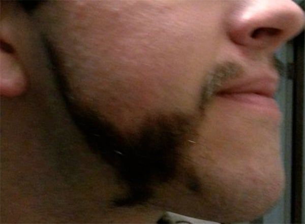 This man shaved two dinosaurs into his beard. That is all.