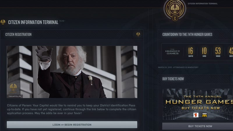 Obsessive Hunger Games Fans Can Now Visit the Capitol's Own Website