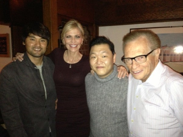 For Some Reason, Here's A Picture Of Larry King And His Wife Hanging Out With Chan Ho Park And Psy