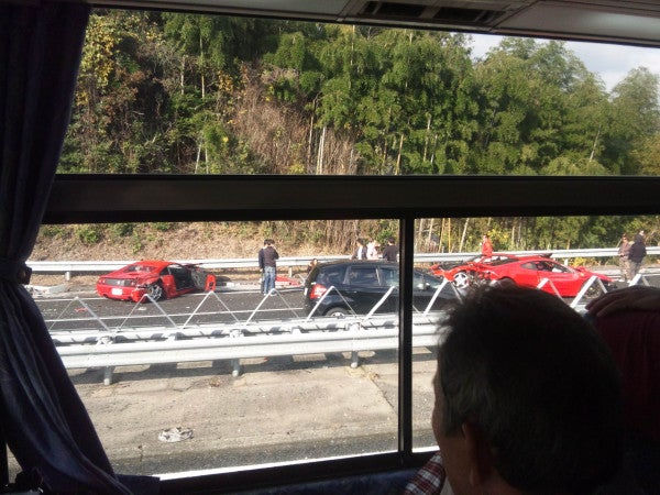Massive Japanese crash claims eight Ferraris, three Benzes, and a Lamborghini