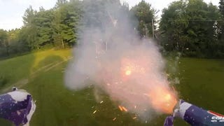 Watch a drone shoot fireworks at people from the drone's point of view