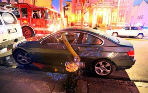 Asshat BMW Driver Parks In Front Of Hydrant And Gets The Backdraft Treatment